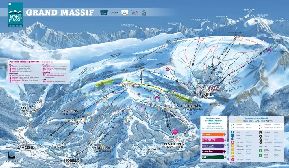 Lift map of the Grand Massif ski area